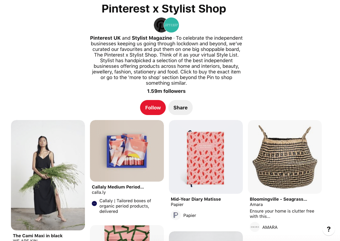 Pinterest x Stylist Magazine shop
