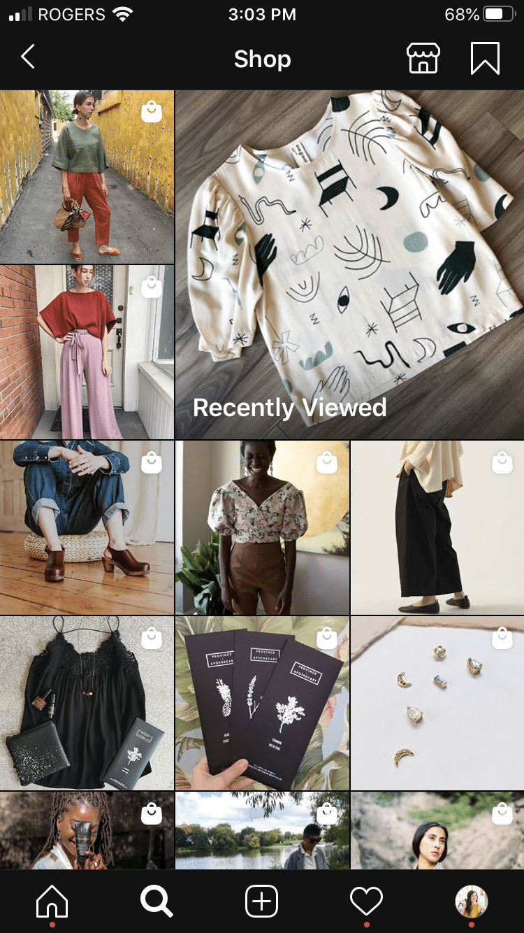 "Instagram Shop page showing ""recently viewed"" items"