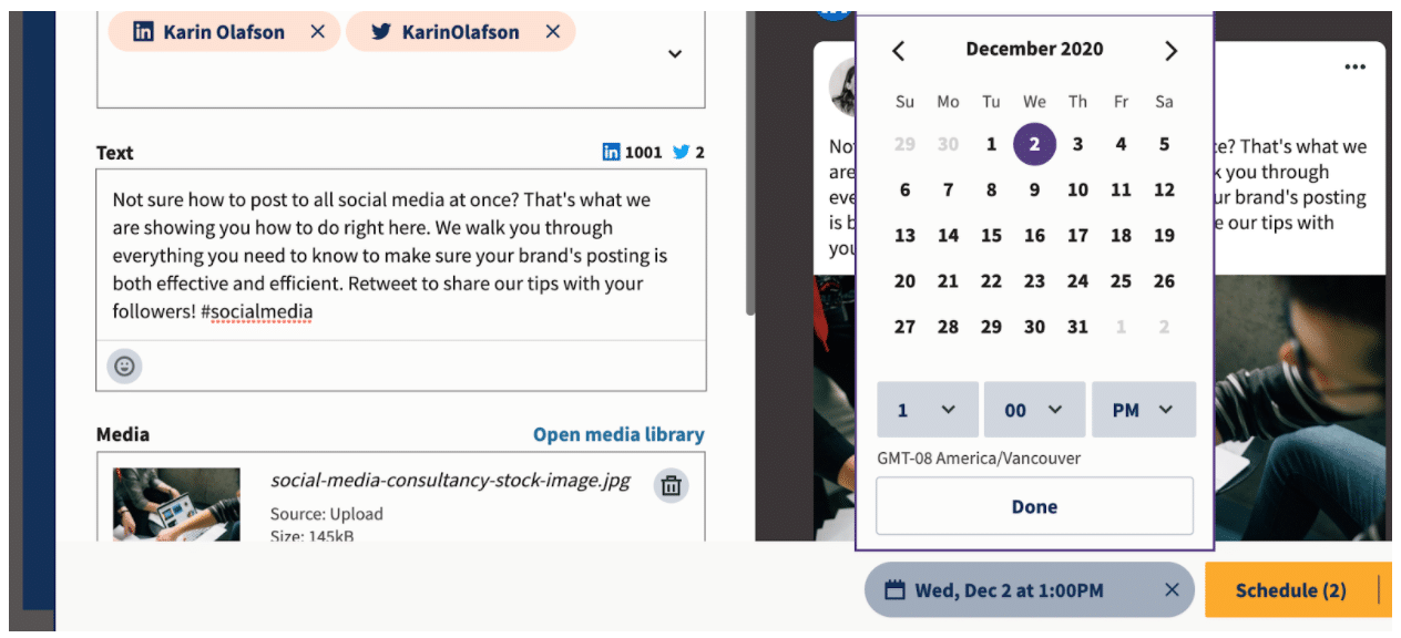 Select publishing date and time on Hootsuite Planner