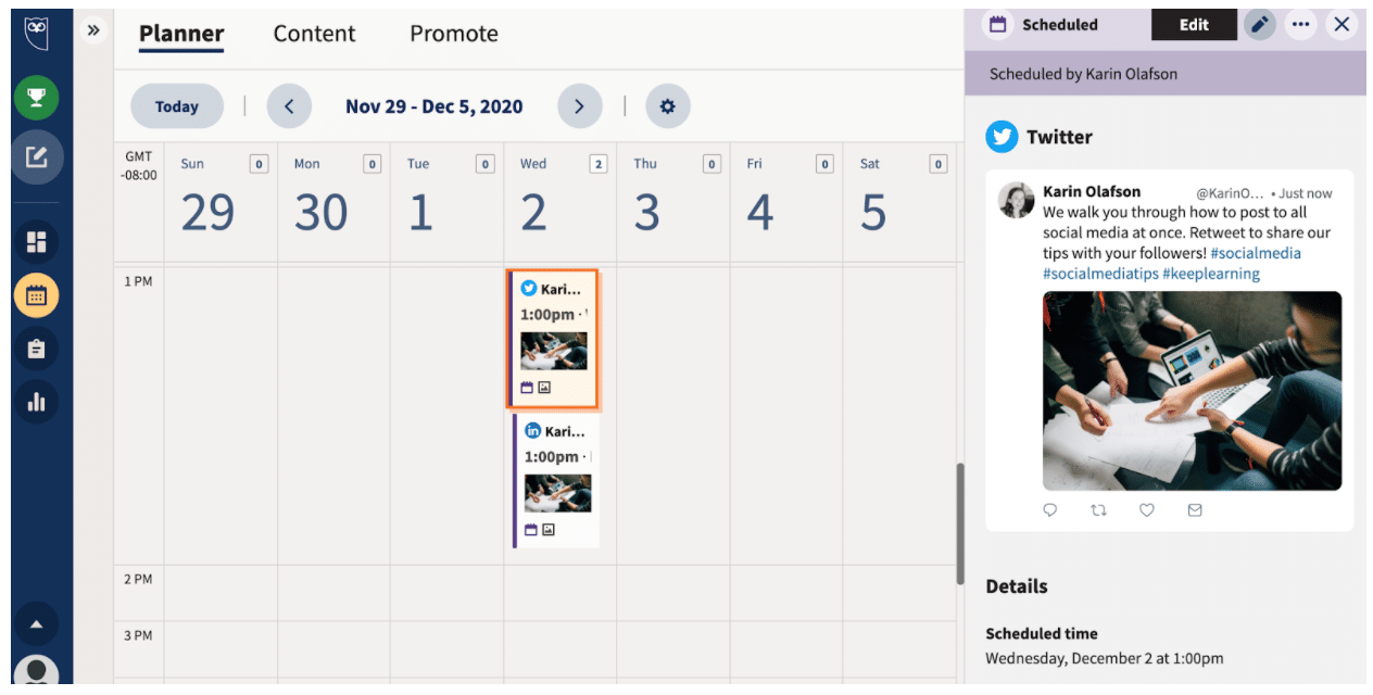 Hit schedule to see scheduled posts in Planner