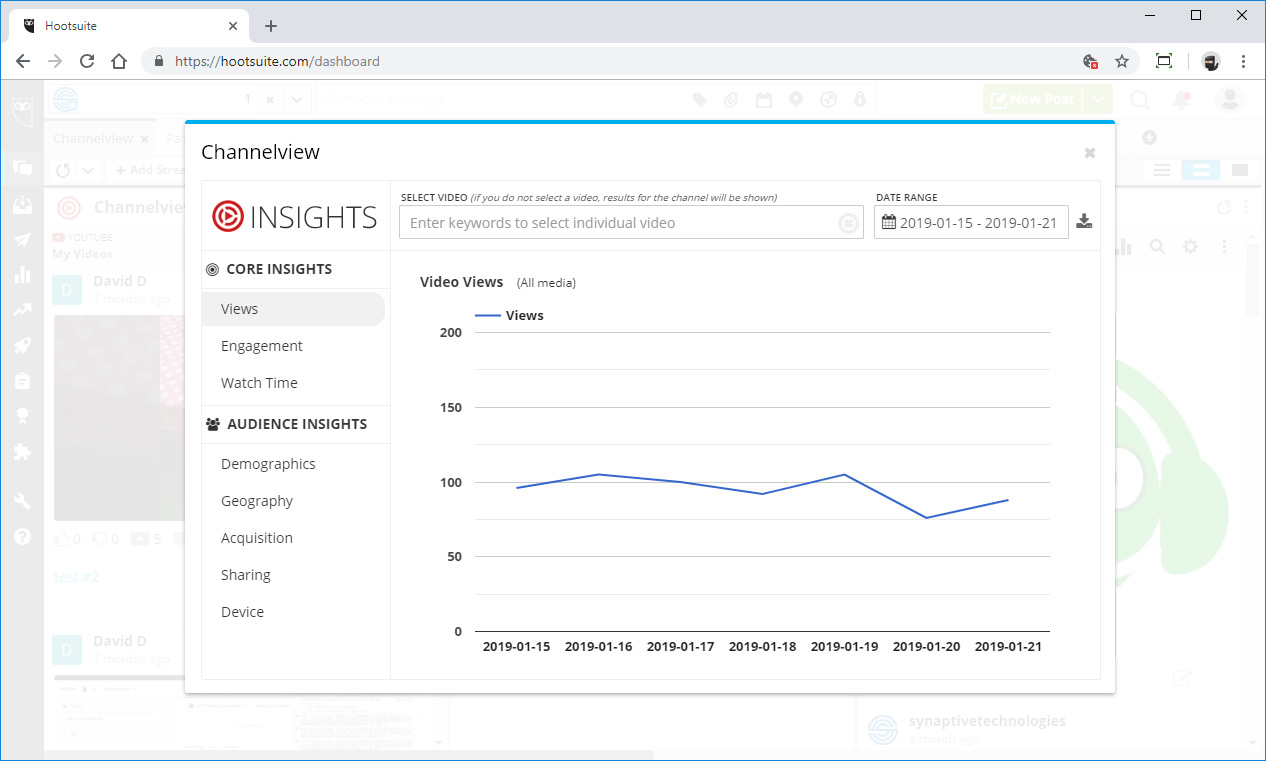 Channelview Insights dashboard, video views tab