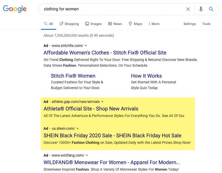 clothing for women search query
