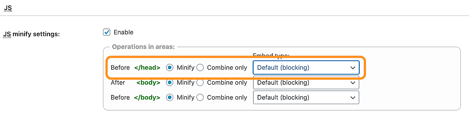 the settings page in the w3 total cache plugin