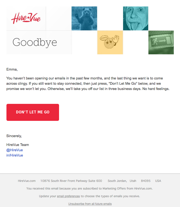 Email marketing campaign example by HireVue focused on customer retention