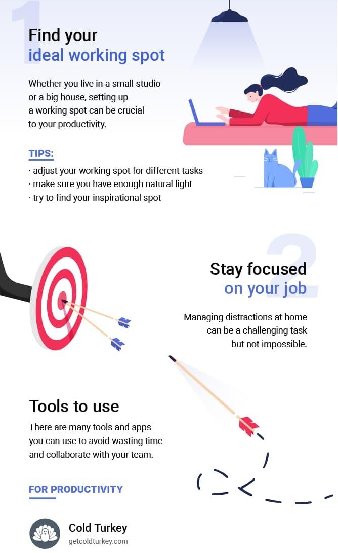 Work from home productivity tips infographic