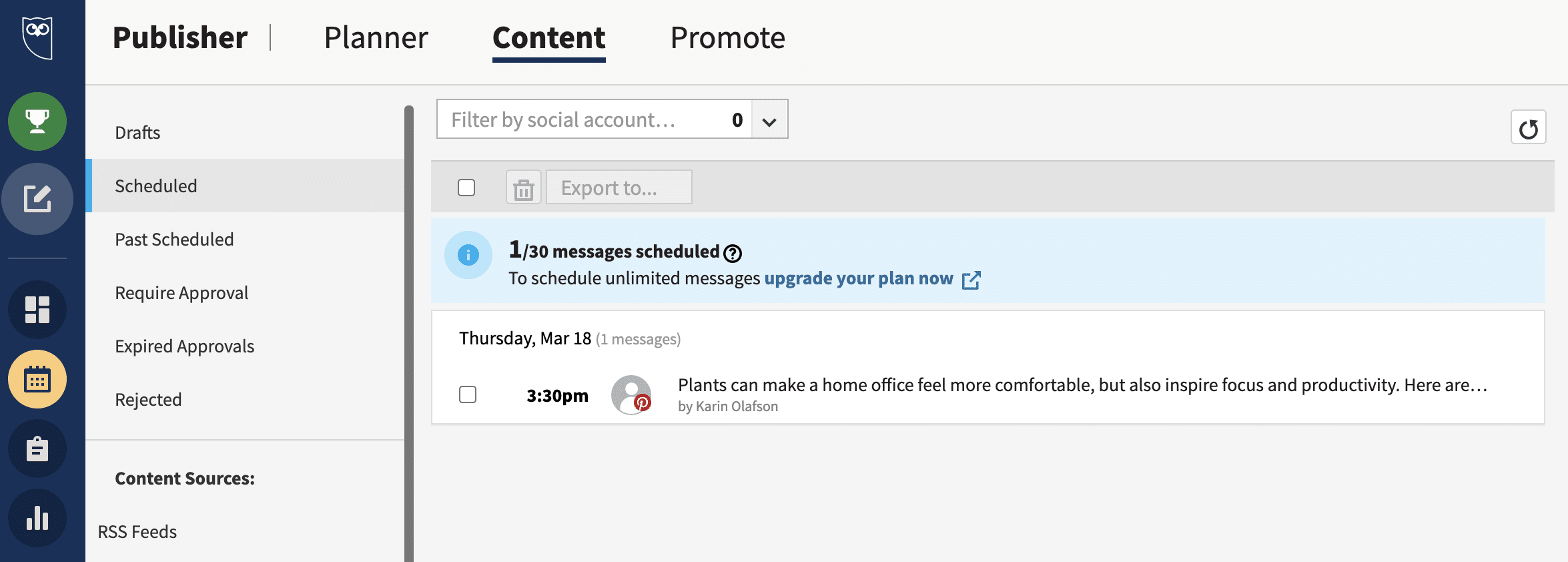 Hootsuite Content view list of Pins