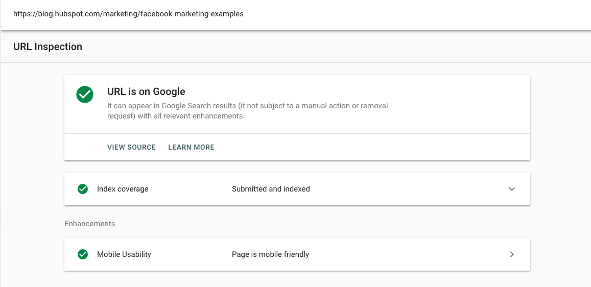 url inspection in google search console