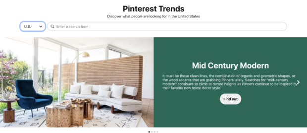 """Pinterest trends page for """"Mid-century modern"""""""