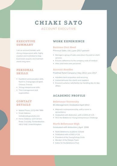 Cream and Green Account Executive Resume Template