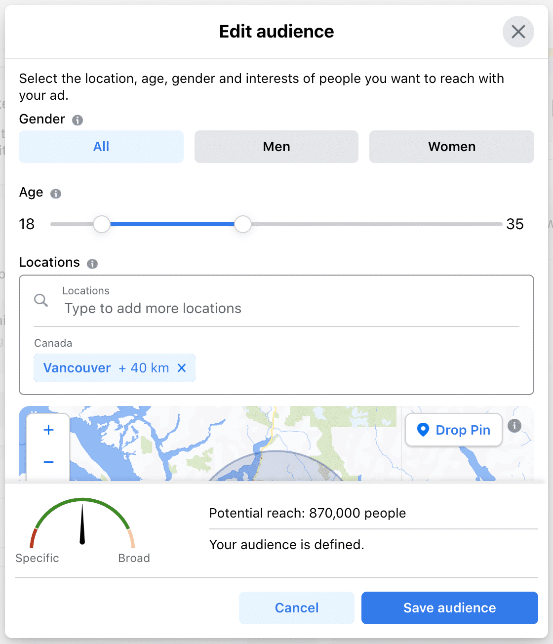 edit audience based on gender age and location