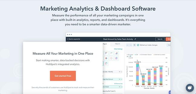 langing page of HubSpot Marketing Analytics and Dashboard Software