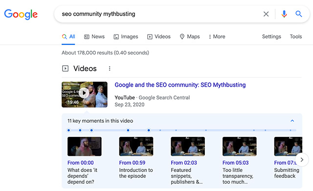Google Limiting Key Moments Feature To Small Set Of Video Providers