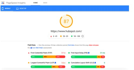 page-speed-insights-hubspot
