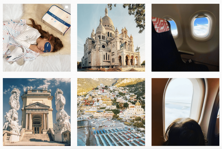 Air France Instagram page buildings and destination shots