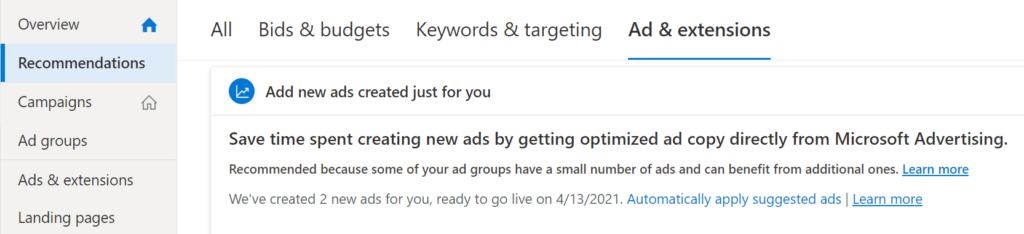 microsoft suggested ad recommendations