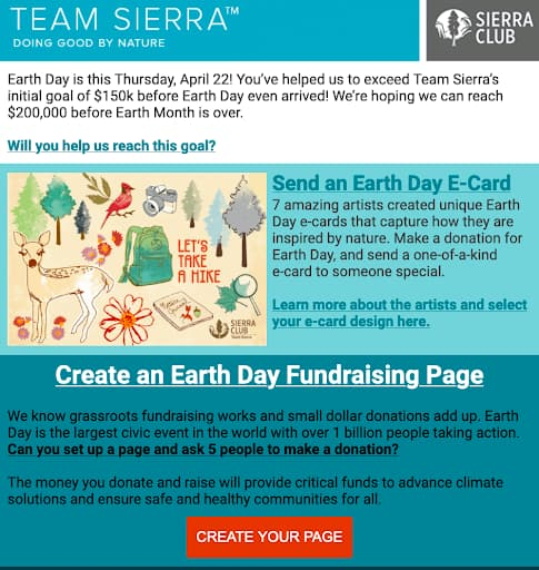 Lifecycle marketing example from Sierra