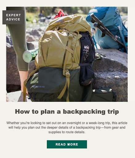 Engagement campaign example from REI