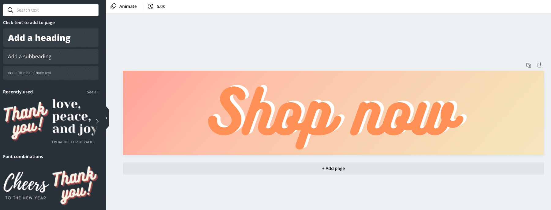 design page on Canva