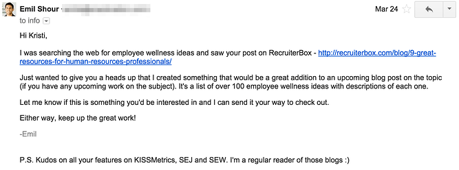 An email asking for infographic publishing.