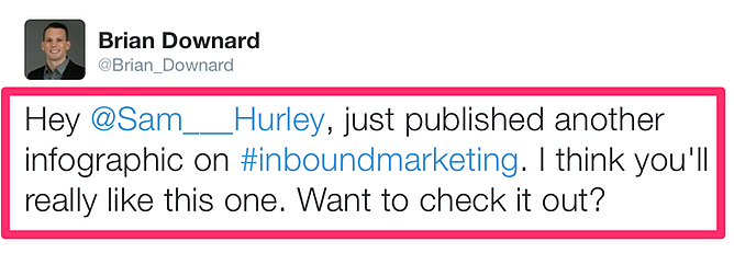 Screenshot of a tweet asking for infographic promotion.