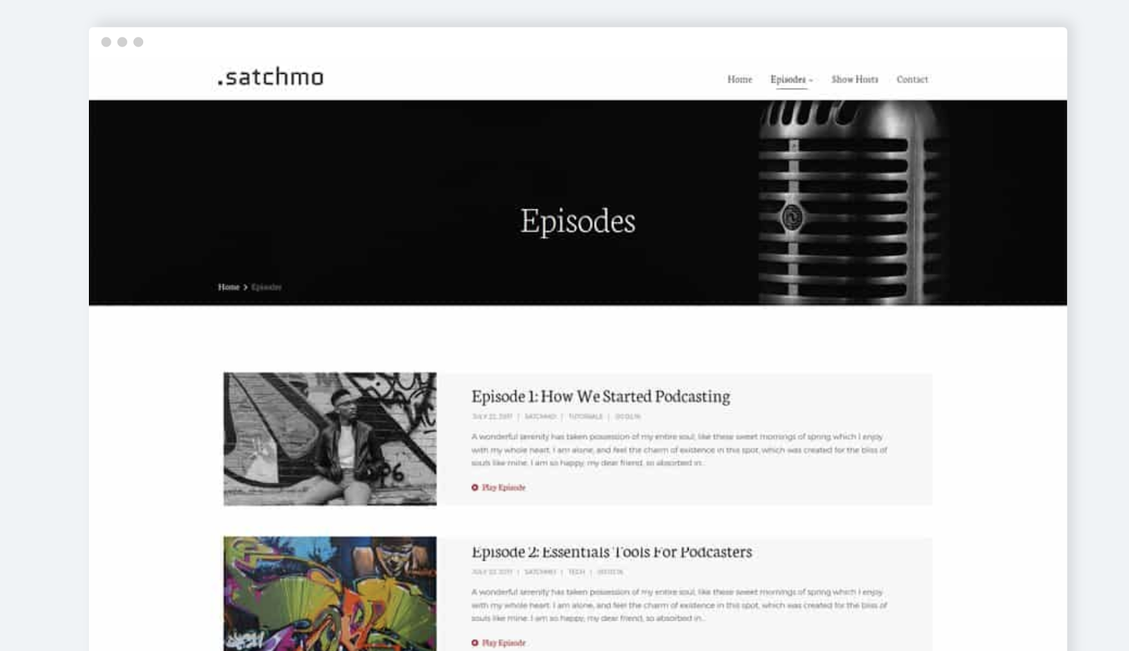satchmo  wordpress theme for podcasts download page