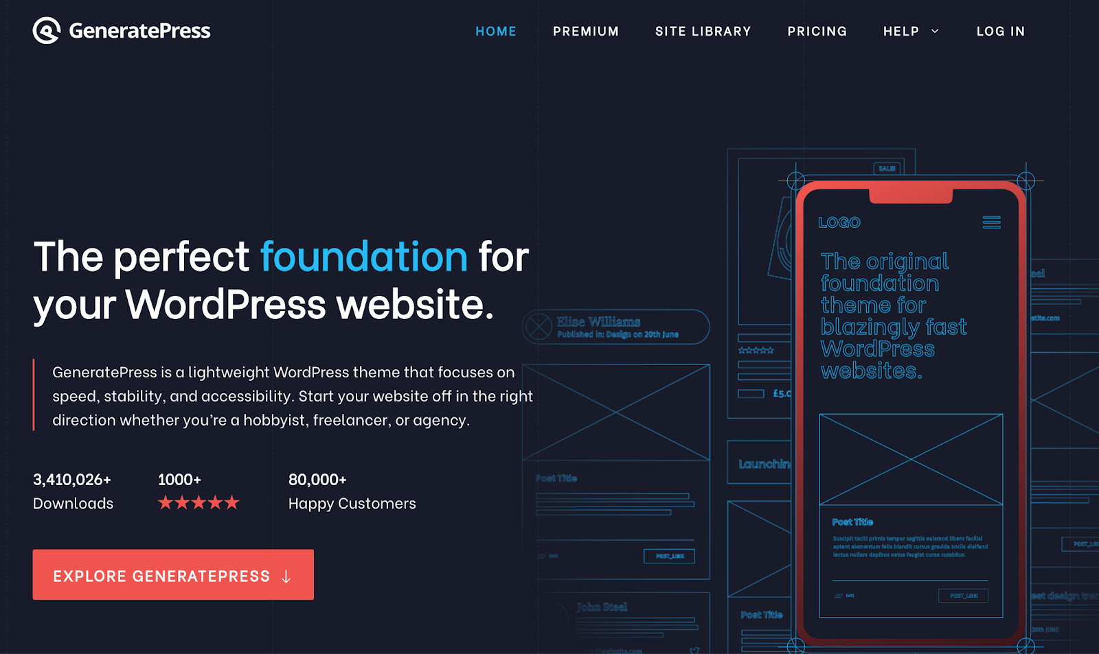 generatepress  wordpress theme for podcasts download page