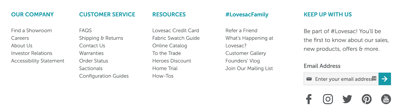 lovesac website homepage with resources and CTAs in the footer