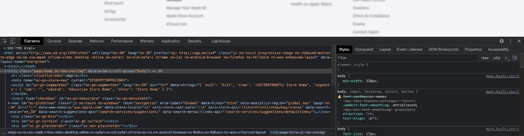 Typical Developer Tools window in Chrome web browser