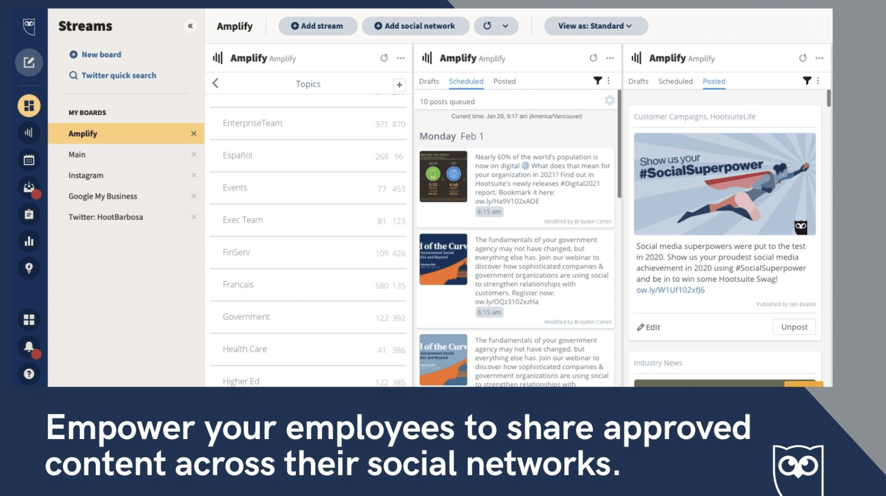 Hootsuite Amplify employee advocacy