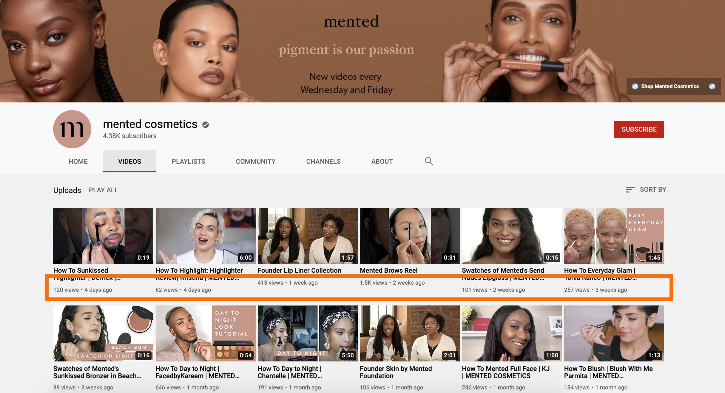 mented cosmetics on youtube with lower publishing volume