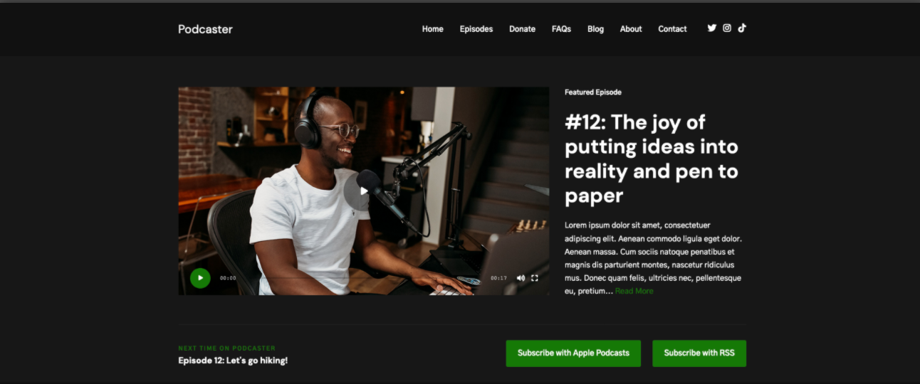 podcaster wordpress theme for podcasts download page