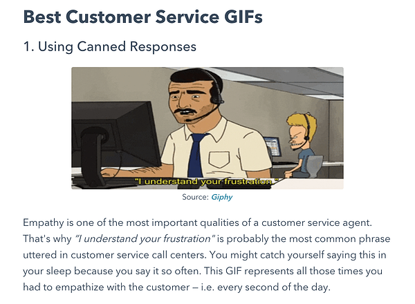 Funny HubSpot blog post featuring GiFs