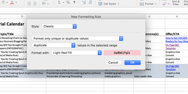 Excel screenshot of formatting rules.