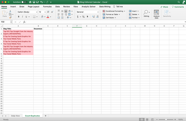 Excel sheet with duplicates counted.