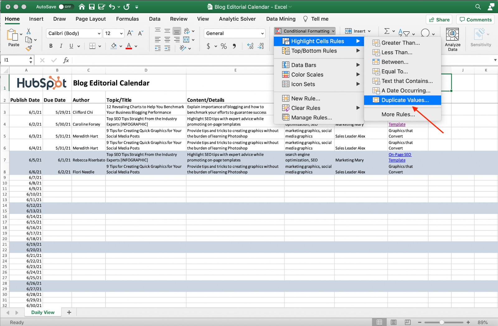 Screenshot of removing duplicate values in Excel.