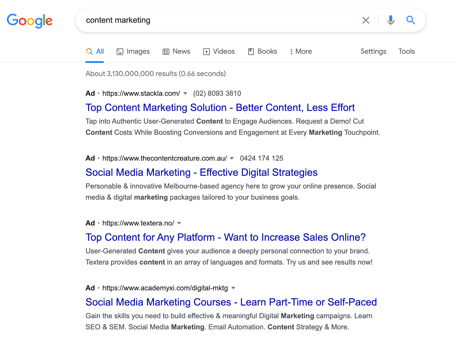 """SERP for """"content marketing"""" on Google Search"""
