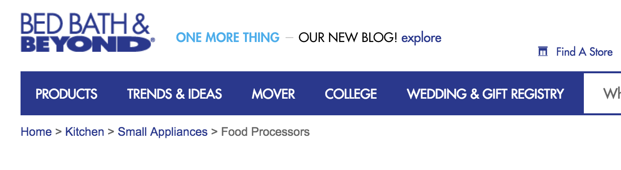 an example of breadcrumb navigation on the bed bath and beyond website