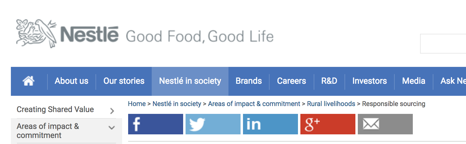 example of breadcrumb navigation on the nestle website