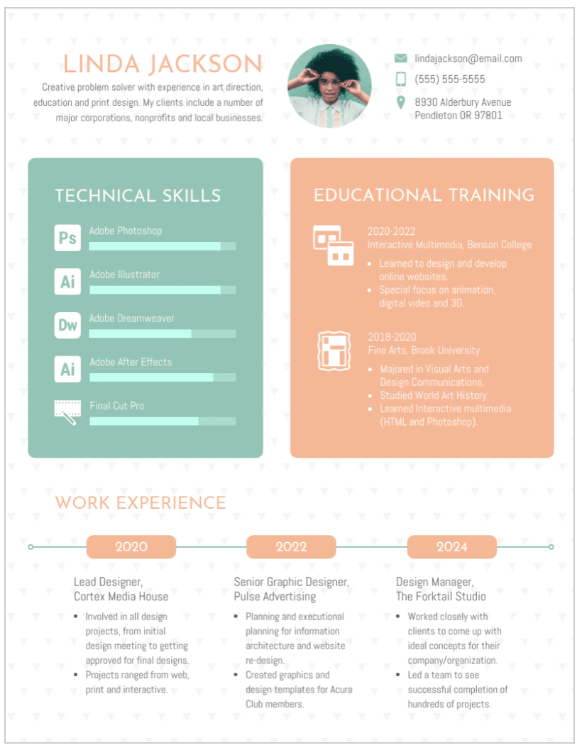 Template for an infographic resume