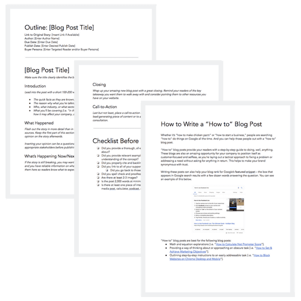 6 blog post templates for Content Marketing from HubSpot