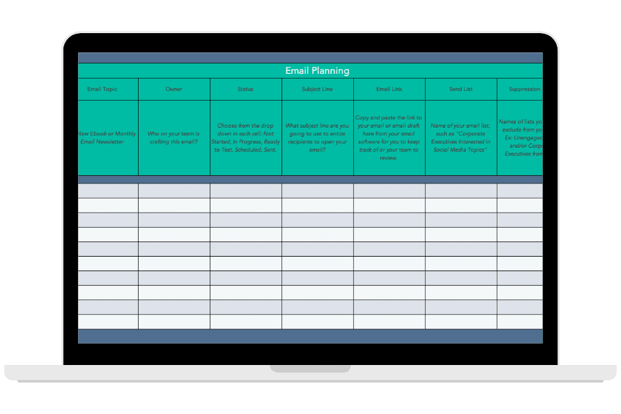 Email Marketing Planning Template for Content Marketing from HubSpot