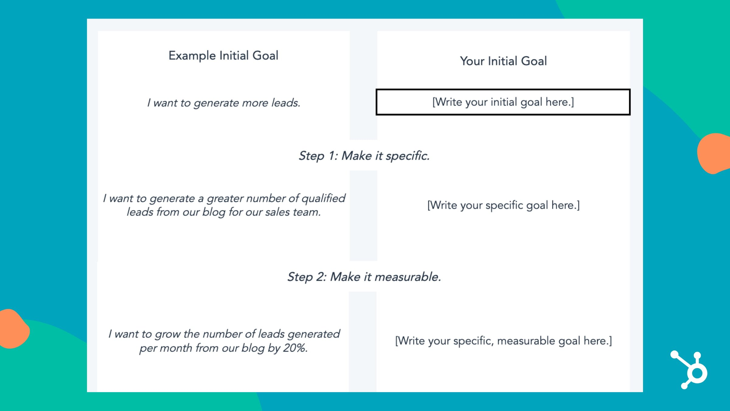 sample goal setting template section for outlining initial goals