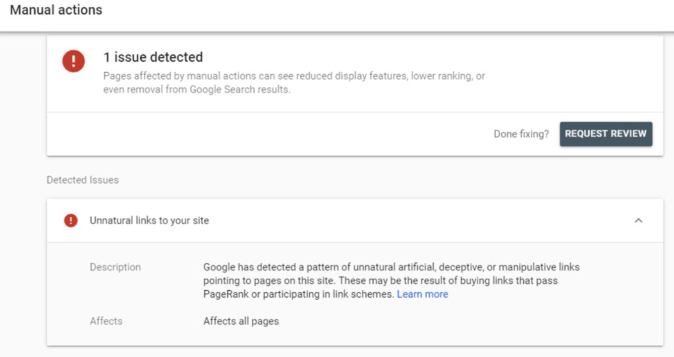 Google's Request Review button to remove a backlink