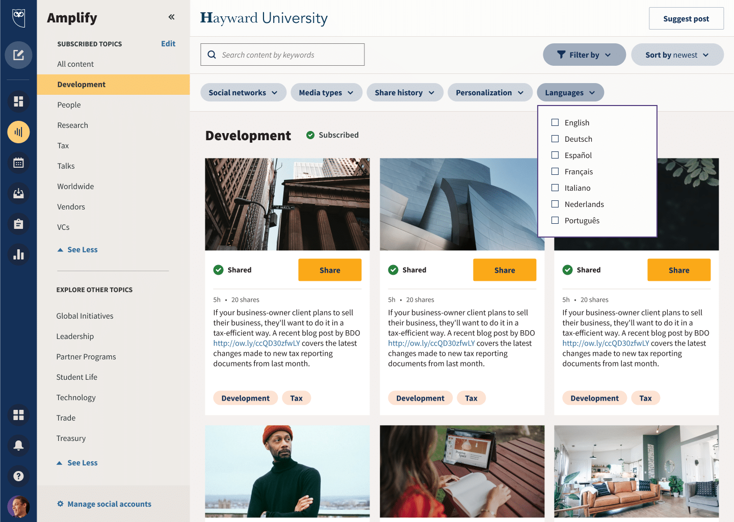 filter Hootsuite Amplify content by language