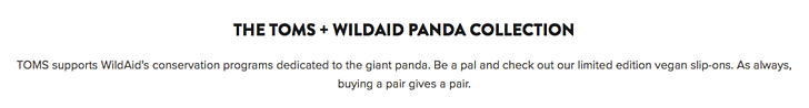 TOMS wild aid panda collection