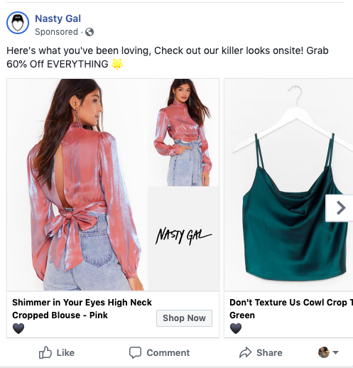 Marketing Technique: Retargeting Example Ad on Facebook from NastyGal