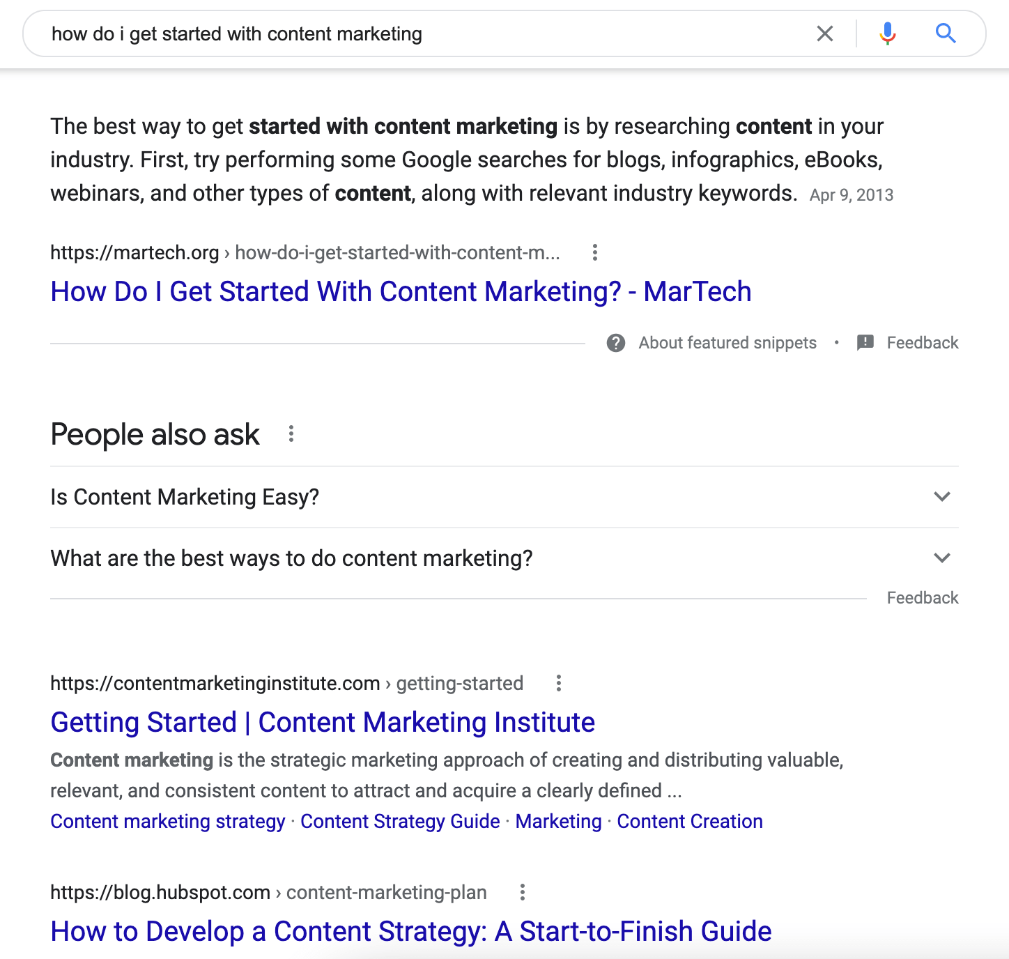 search results for how do i get started with content marketing with instructional guides on page one