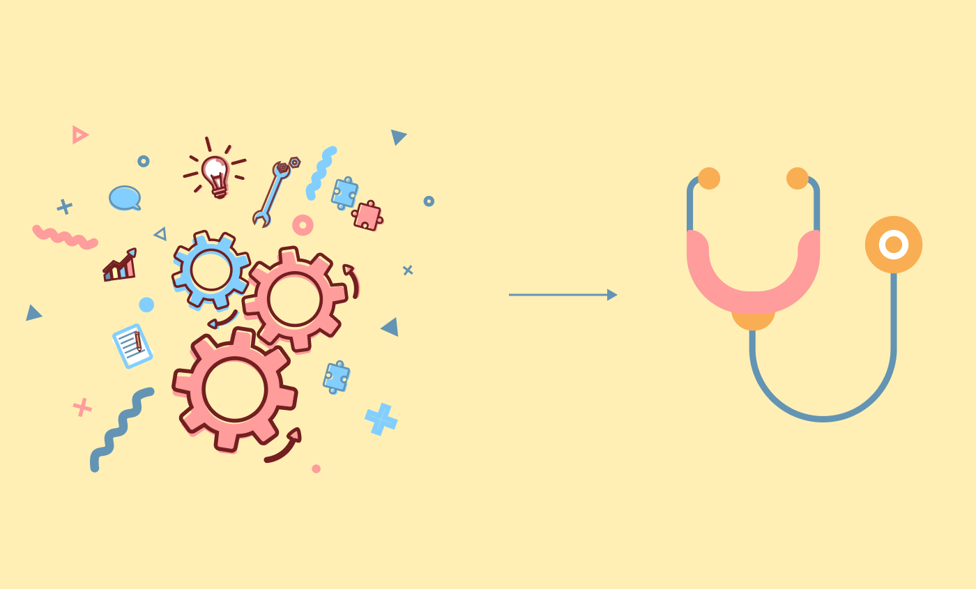 An image with illustration of gears pointing to a stethoscope, to represent design thinking process for healthcare.