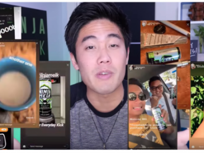 Ryan Higa showing clips of people using his product on YouTube